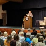 Gail Godwin delivering the keynote address at the 2018 Carolina Mountains LitFest